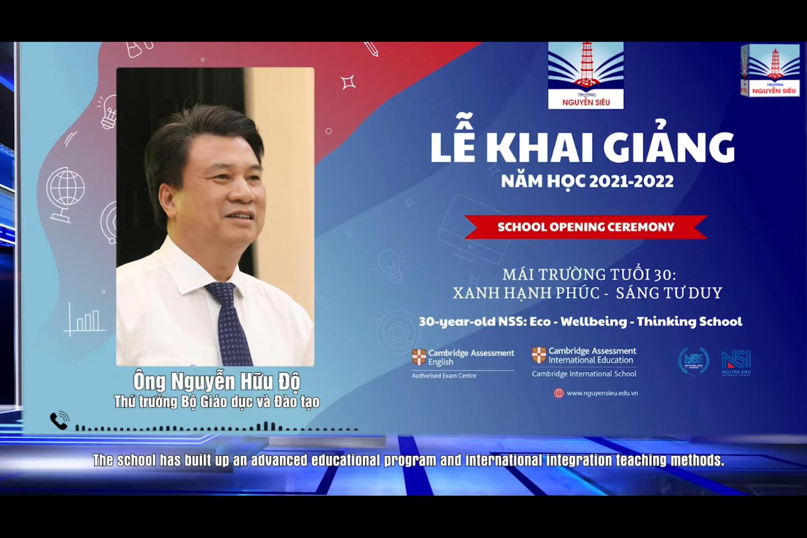 Chúc từ Thứ trưởng Bộ GDĐT và Giám đốc Cambridge Đông Nam Á gửi thầy trò NS